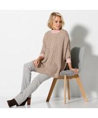 Blancheporte Pončo s pleteným vzorem konopná