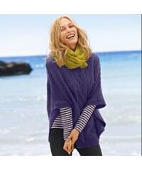Blancheporte Pončo s pleteným vzorem indigo