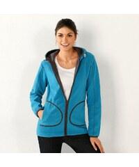 Blancheporte Dvoubarevná fleecová bunda na zip tyrkysová/antracitová
