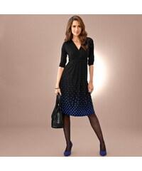 Blancheporte Úpletové šaty se spodním potiskem černá/modrá