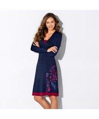 Blancheporte Šaty s potiskem a dlouhými rukávy nám.modrá/purpurová