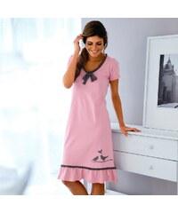 Blancheporte Noční košile s potiskem ptáčka šedá/růžová