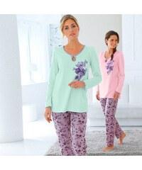 Blancheporte Pyžamo s květinovým potiskem mentolová