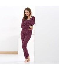 Blancheporte Pyžamová souprava tričko a legíny bordó
