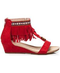 Goodin Sandály Dámské červené otevřené sandálky zdobeny efektními třásněmi Goodin