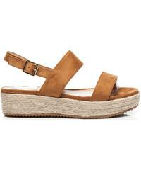 Vices Sandály Pohodlné hnědé sandály na hrubé podrážce kterou oplétá plátěný m Vices