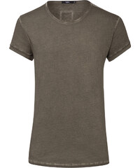 Tigha MILO SLUB T-Shirt mit verlängertem Saum in Olivegrün