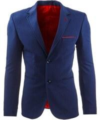 Elegantní modré pánské sako s červenými doplňky