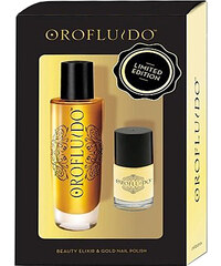 Orofluido Elixir Kit dárková sada W - 50ml Beauty Elixir + 10ml Nail Polish Gold Pro všechny typy vlasů
