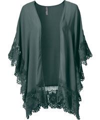 RAINBOW Kimono à dentelle vert manches courtes femme - bonprix