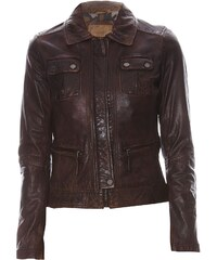 Oakwood Gamma - Veste biker en cuir - marron