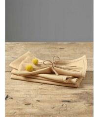Cyrillus Lot de 4 serviettes de table en lin mélangé - jaune