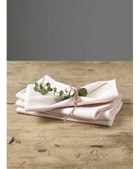 Cyrillus Lot de 4 serviettes de table en lin mélangé - chair