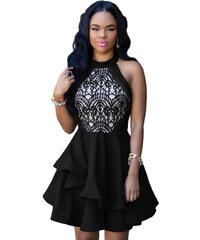 Dámské společenské šaty černé asymetrické