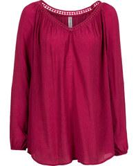 RAINBOW Bluse mit Deko-Bändchen langarm in pink von bonprix