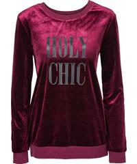 RAINBOW Sweatshirt, Samt mit Lederimitat-Druck langarm in lila für Damen von bonprix