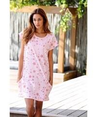 Große Größen: Bench Homewear-Kleid im Sterndesign mit seitlichen Taschen, rosa bedruckt, Gr.32/34-44/46