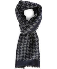 HARTFORD Blau-grauer Schal aus Wolle und Seide mit Hahnentrittmuster
