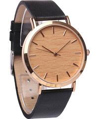 Lesara Leder-Armbanduhr mit Holz-Zifferblatt - Schwarz