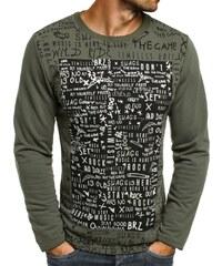 Breezy Originální khaki triko s potiskem a dlouhým rukávem BREEZY 9082