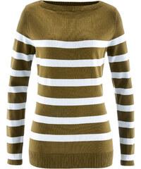 bpc bonprix collection Pullover mit U-Boot Ausschnitt, langarm in grün für Damen von bonprix