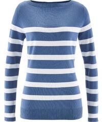 bpc bonprix collection Pullover mit U-Boot Ausschnitt, langarm in blau für Damen von bonprix