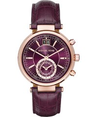 Michael Kors Montres, Sawyer Watch Roseor-Tone Leather Purple en or, parme