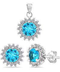 Silvego Stříbrná souprava šperků s tyrkysovými zirkony FIJS008-T