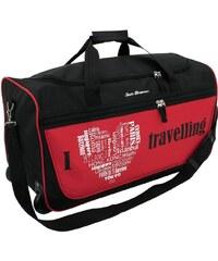 Friedrich Lederwaren Cestovní taška na kolečkách I Love travelling černá/červená 56061-0-3