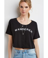 Forever 21 tričko Embroidered Wanderer Boxy