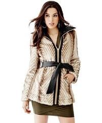 Guess kabát Long-Sleeve Faux-Fur Mix