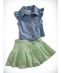 GUESS Kids set Chambray Top with Lace Skirt