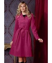 DÁMSKÝ KABÁT V A STŘIHU S PÁSKEM, kabát růžový