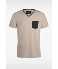 T-shirt homme manches courtes bicolor Beige Coton - Homme Taille L - Bonobo