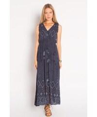 Robe longue imprimé tie and dye Bleu Coton - Femme Taille 36 - Cache Cache