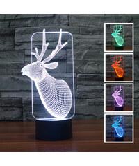 Lunio Color Lampe LED illusion 3D forme cerf
