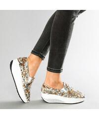 Lesara Fitness-Slipper mit Gold-Silber-Pailletten - 35