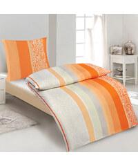 Lesara Mikrofaser-Bettwäsche Streifen & Ornamente - Orange
