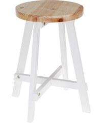 Lesara Sitzhocker aus Holz - Weiß