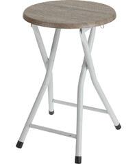 Lesara Klapphocker mit Holzsitzfläche - Weiß