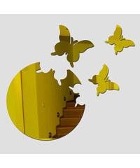 Lesara 4-teiliges Wandtattoo-Set Kreis & Schmetterling - Gold