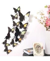 Lesara 12-teiliges 3D-Wandtattoo-Set Schmetterling - Schwarz