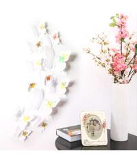 Lesara 12-teiliges 3D-Wandtattoo-Set Schmetterling - Weiß