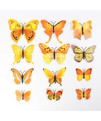 Lesara 12-teiliges 3D-Wandtattoo-Set Schmetterling Gelb