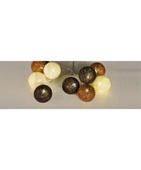 Lesara LED-Lichterkette mit Kugeln aus Wolle - Braun, Weiß & Bronze