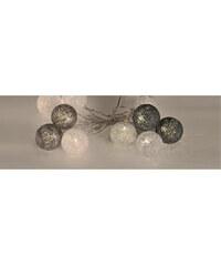 Lesara LED-Lichterkette mit Kugeln aus Wolle - Grau, Weiß & Anthrazit