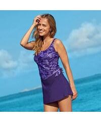 Blancheporte Jednodílné plavky se sukénkou, efekt taniky fialová/lila 38