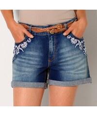 Blancheporte Džínové šortky s výšivkou modrá 36