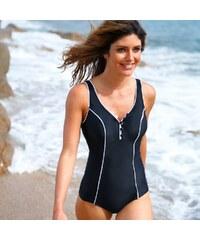 Blancheporte Jednodílné plavky s knoflíčky ve výstřihu černá 38