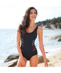 Blancheporte Jednodílné plavky v princesovém střihu černá/vícebarevná 38